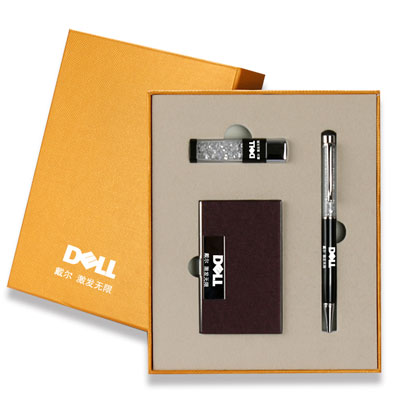 戴尔企业定制签字笔名片盒U盘套装商务会议年会